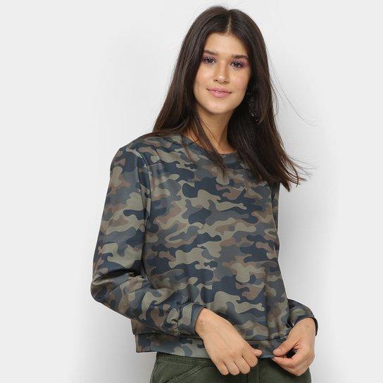 Moletom My Favorite Thing Camuflado Feminino  - Verde Militar
