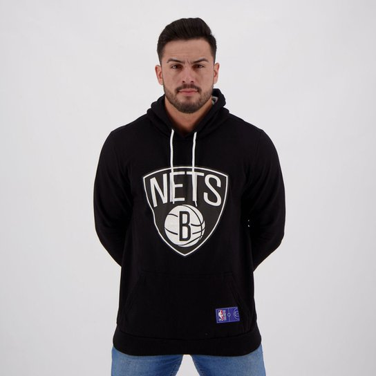 Moletom NBA Brooklyn Nets Canguru Masculino - Preto