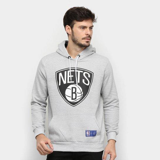Moletom NBA Brooklyn Nets Canguru Masculino - Grafite