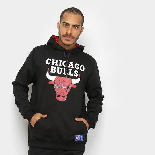 Moletom NBA Chicago Bulls Canguru Masculino - Preto