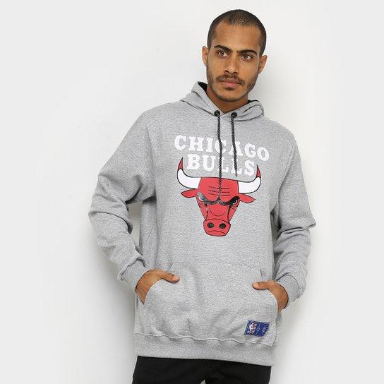 Moletom NBA Chicago Bulls Canguru Masculino - Cinza