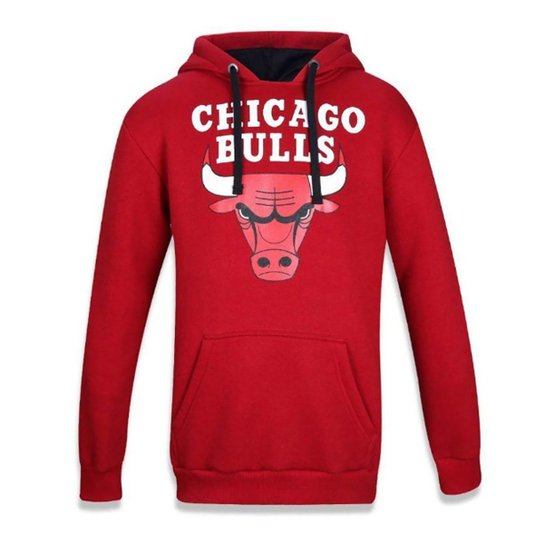 Moletom NBA Chicago Bulls Canguru Masculino - Vermelho
