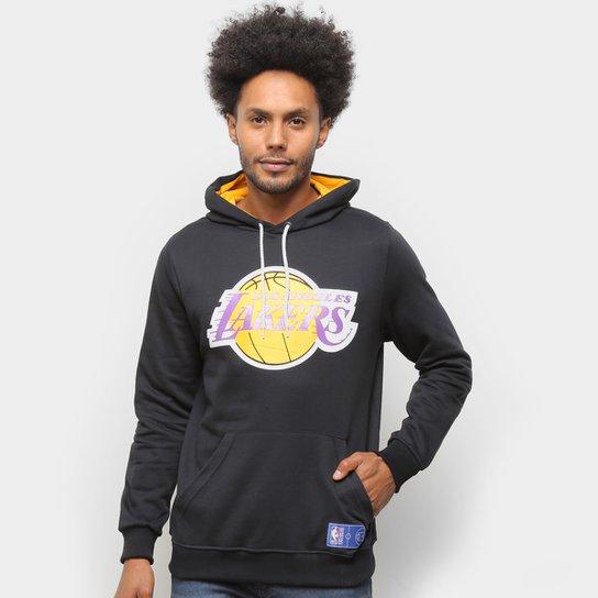 Moletom NBA Los Angeles Lakers Canguru Masculino - Preto