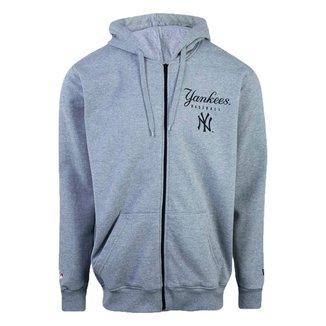 Moletom New Era Plus Size Canguru Aberto New York Yankees MLB - Cinza
