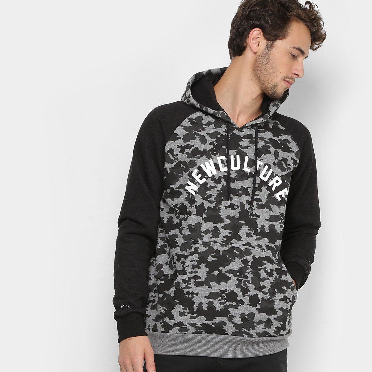 Moletom New Skate Canguru Black Camuflage Masculino - Preto