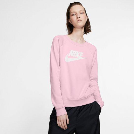 Moletom Nike Essential Crew Feminino - Rosa Escuro+Branco