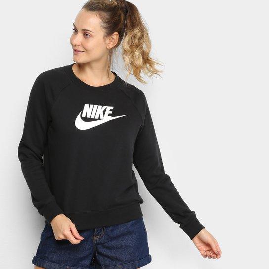 Moletom Nike Essential Crew Feminino - Preto+Branco
