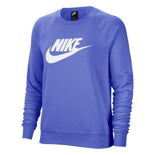 Moletom Nike Essential Crew Feminino - Azul+Branco
