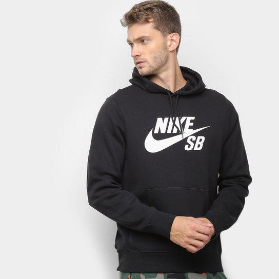 Moletom Nike Icon Pullover Capuz Masculino - Preto+Branco