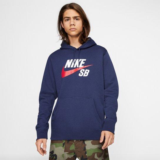 Moletom Nike SB Icon Essnl Masculino - Marinho+Vermelho