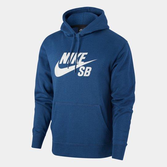 Moletom Nike SB Icon Essnl Masculino - Marinho+Cinza