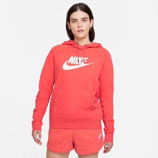 Moletom Nike Sportswear Essential Hoddie PO HBR Feminino - Salmão+Branco