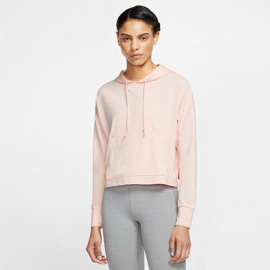 Moletom Nike Yoga Jersey Crop Capuz Feminino - Laranja
