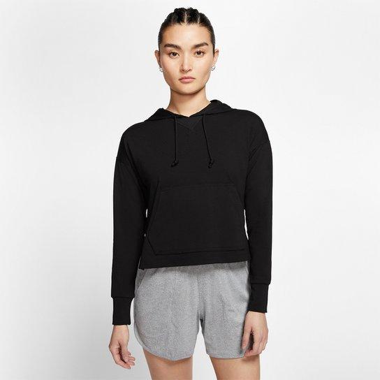 Moletom Nike Yoga Jersey Crop Capuz Feminino - Preto+Cinza