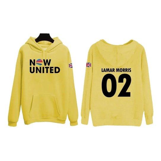 Moletom Now United Lamar Morris 02 Bandeira Reino Unido Feminino - Amarelo