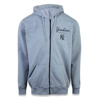 Moletom Plus Size Canguru Aberto New York Yankees Mlb New Era Masculino
