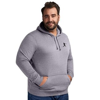 Moletom Plus Size Masculino Liso Casual Canguru