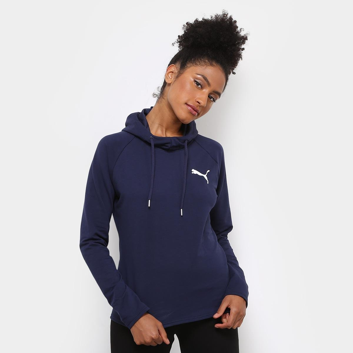 Moletom Puma Active Ess Hooded Cover Up Feminino - Marinho