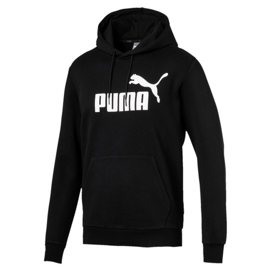 Moletom Puma Ess Hoody Fl Big Logo Masculino - Preto