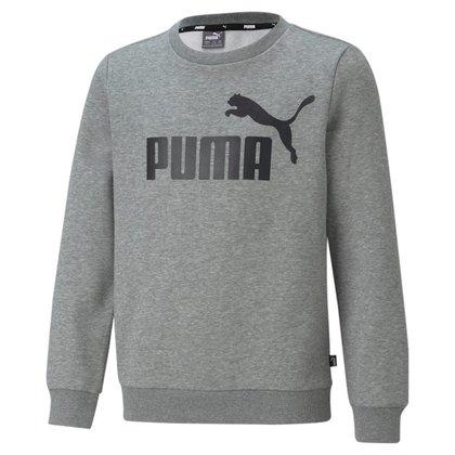 Moletom Puma Essentials Crew Neck Big Logo Infantil - Cinza - 10