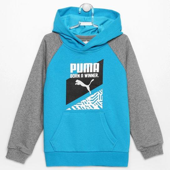 Moletom Puma Fun Ind Graphic Hooded c/ Capuz Infantil - Azul Piscina