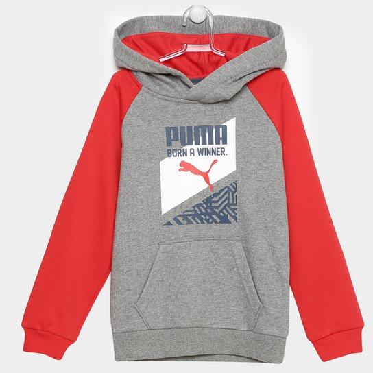 Moletom Puma Fun Ind Graphic Hooded c/ Capuz Infantil - Cinza