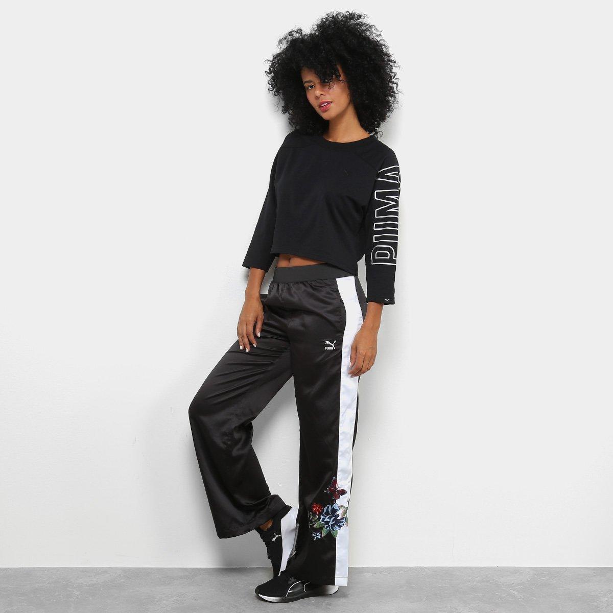 Moletom Puma Fusion Cropped 7 8 Sweatshirt Feminino - Preto - Compre ... 4701fc5e6e799