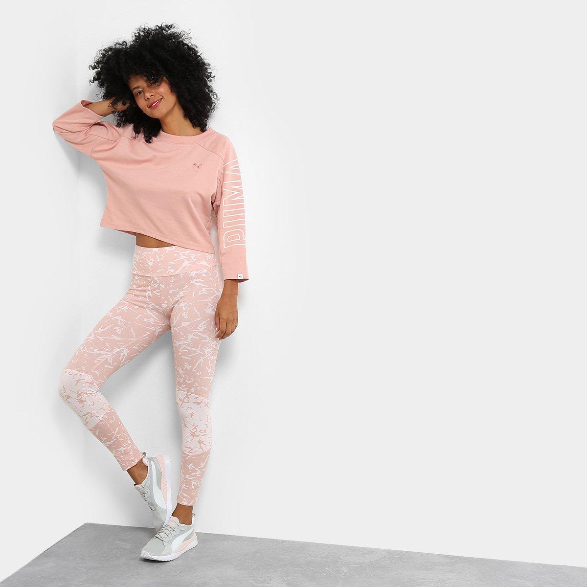 Moletom Puma Fusion Cropped 7 8 Sweatshirt Feminino - Rosa - Compre ... 0347375a3e22d