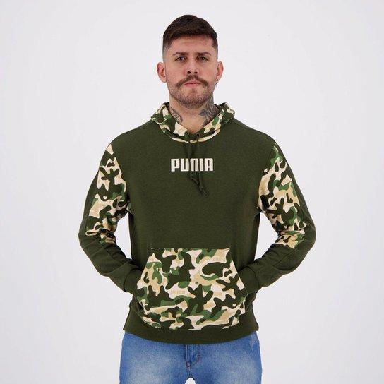 Moletom Puma Rebel Camo Hoody TR Verde - Verde