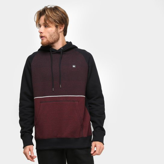 Moletom Quiksilver Single Stripe Hoddie Masculino - Bordô