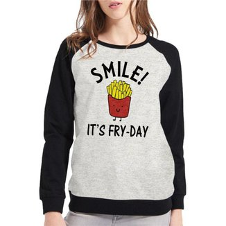Moletom Raglan Feminino Mescla Divertido Smile It's Fry-Day