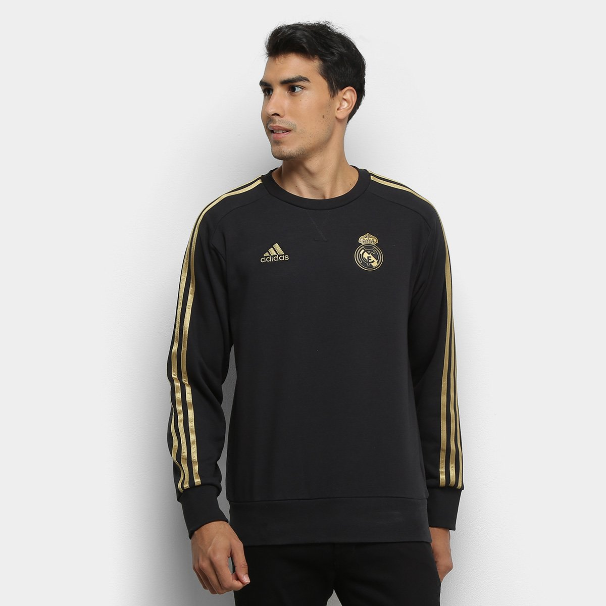 Moletom Real Madrid Adidas Treino Masculino - Preto e Dourado