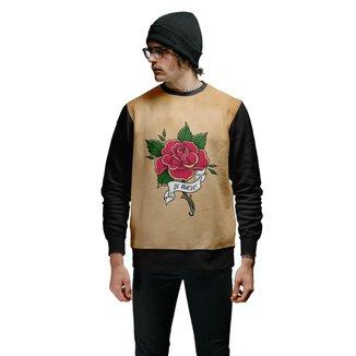 Moletom  Rosas Vermelhas Basic Beige  Masculino