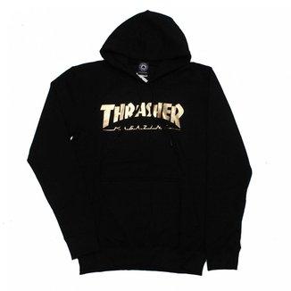 Moletom Thrasher Magazine Canguru Logo Gold Foil