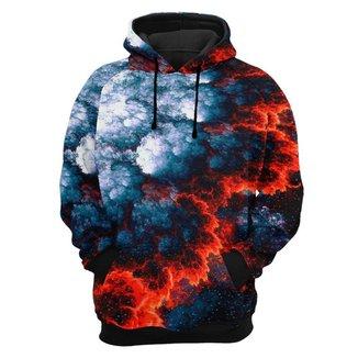 Moletom Tie Dye Bolso Canguru com Capuz Estampa Lava de Vulcão
