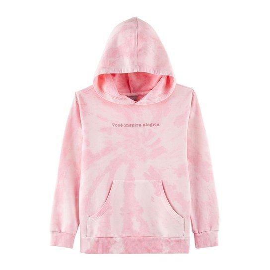 Moletom Tie Dye Infantil Com Capuz E Estampa - Rosa