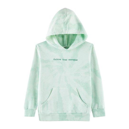 Moletom Tie Dye Infantil Com Capuz E Estampa - Verde