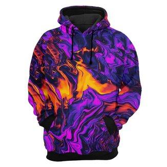 Moletom Tie Dye Unissex Bolso Canguru com Capuz Estampa Purple Fire