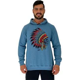 Moletom Tradicional Capuz MXD Conceito Caveira Indígena Masculino