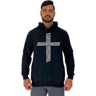 Moletom Tradicional Capuz MXD Conceito Crucifixo Motivacional Masculino