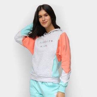 Moletom Tricats Duo Color Soul Bordado Feminino