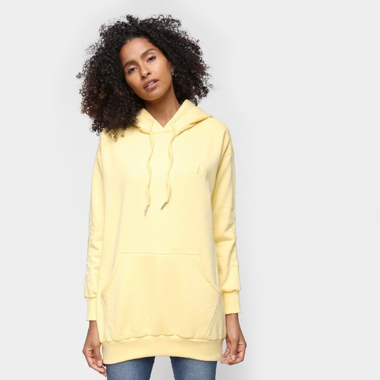 Moletom Tricats Unicolor And CO Oversized Feminino - Amarelo