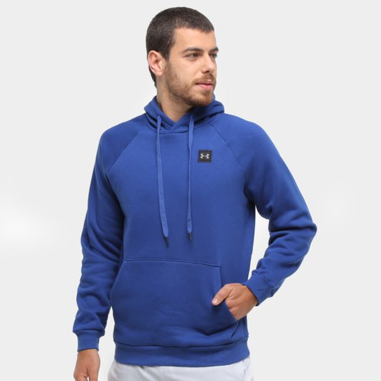 Moletom Under Armour Rival Fleece Po Masculino - Azul+Preto