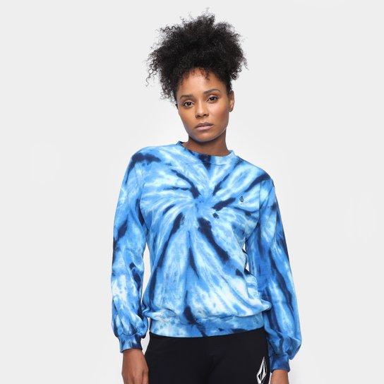 Moletom Volcom Tie Dye Feminino - Azul+Preto