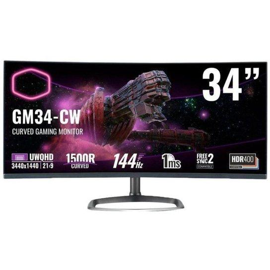"Monitor Gamer Cooler Master  GM34-CW 34"" LCD Curvo - Preto"