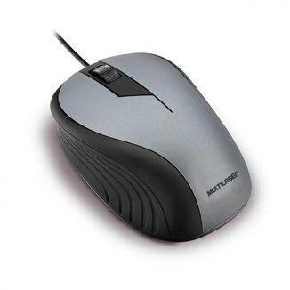 Mouse Emborrachado Cinza e Preto com Fio Usb Multilaser