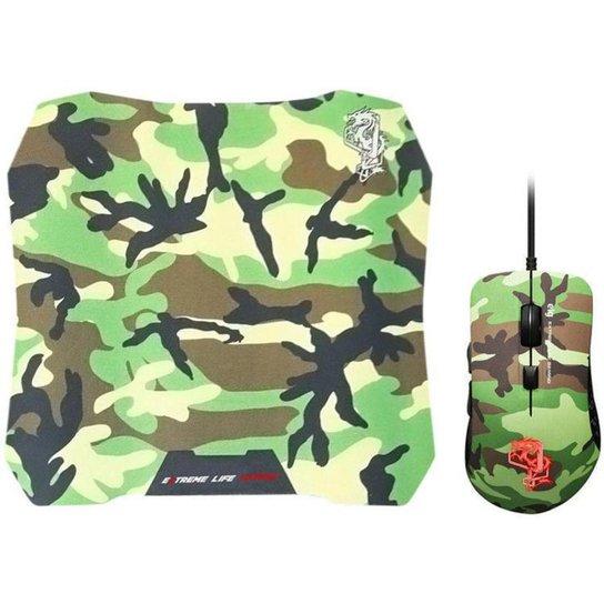 Mouse Gamer ELG Óptico 3200DPI 6 Botões CGMMAY com Mouse Pad - Verde