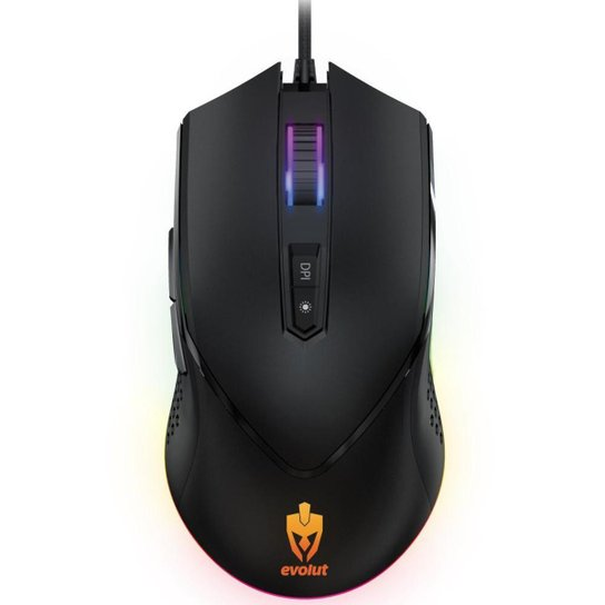 Mouse Gamer Evolut Programável EG107/Balder Preto - Preto