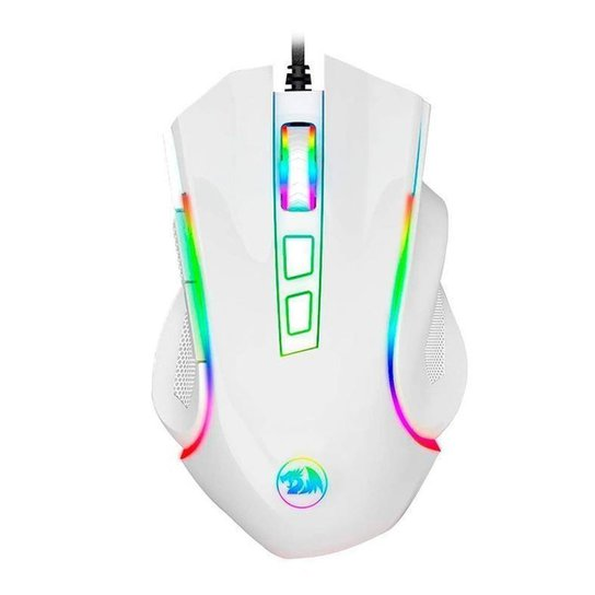 Mouse Gamer Redragon Griffin Lunar White RGB 7200DPI M607W - Branco