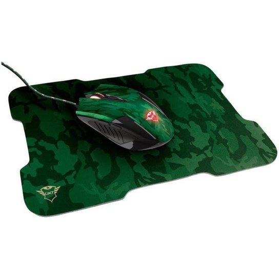 Mouse Gamer Trust Óptico 3200DPI 6 Botões - GXT 781 Rixa com Mouse Pad - Verde
